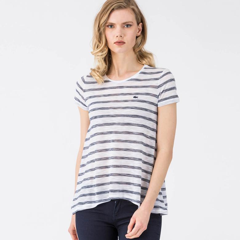 Lacoste Çizgili Beyaz Kadın Tshirt