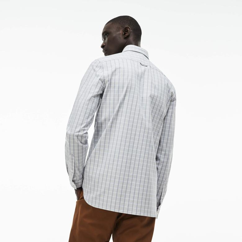 Lacoste Erkek Gri Slim Fit Uzun Kollu Gömlek