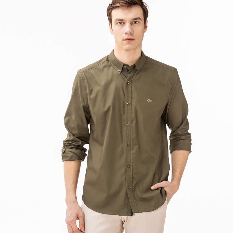 Lacoste Erkek Yeşil Uzun Kollu Slim Fit Gömlek