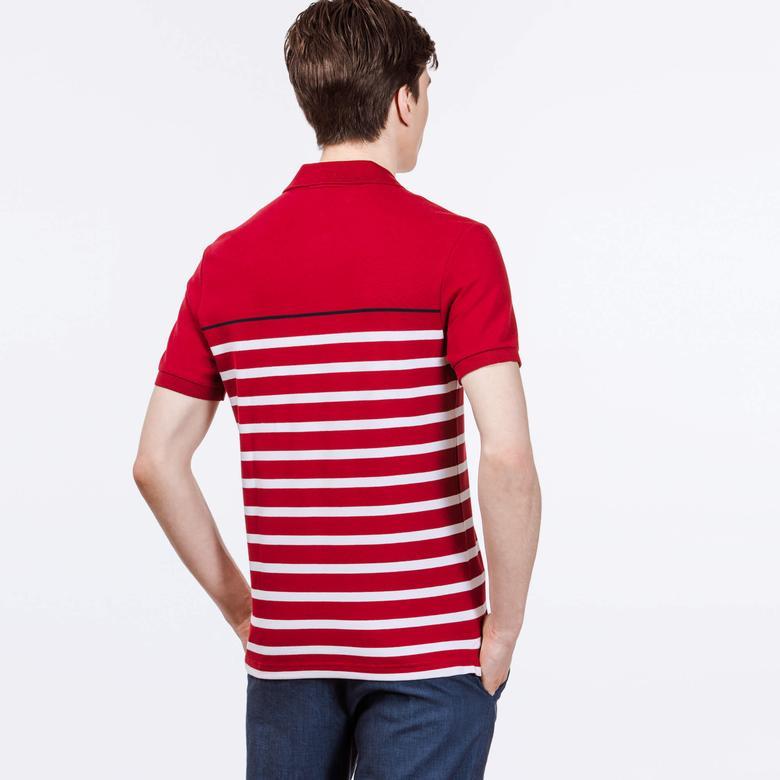 Lacoste Erkek Kırmızı Çizgili Slim Fit Polo
