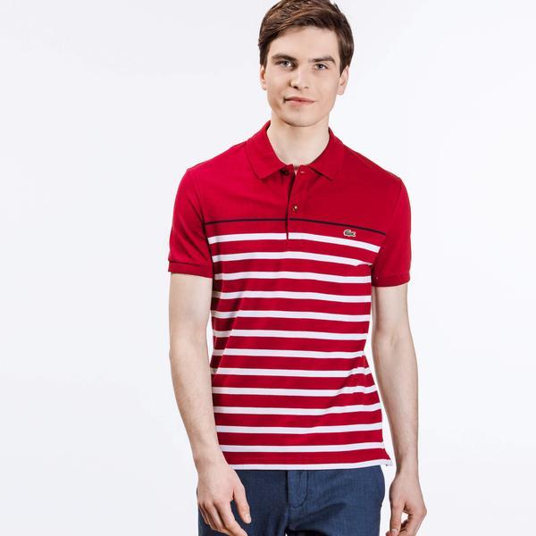 Lacoste Erkek Kırmızı Çizgili Slim Fit Kısa Kollu Polo