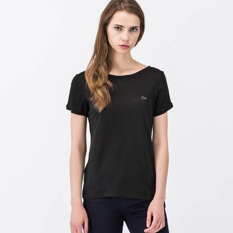 Lacoste Kadın Siyah Kısa Kollu T-Shirt
