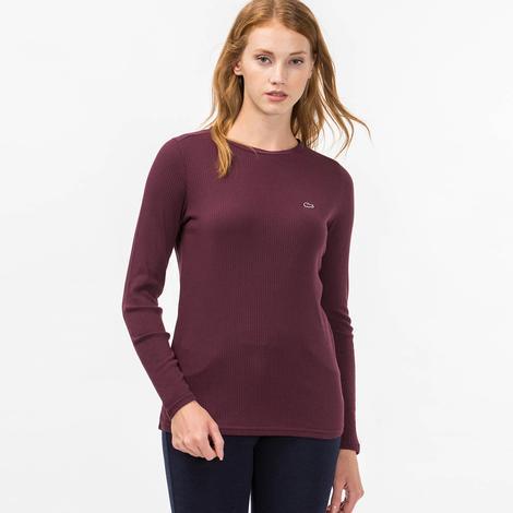 Lacoste Kadın Uzun Kollu Bordo Bluz