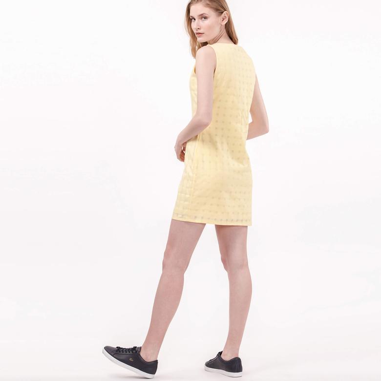 Lacoste Kadın Slim Fit Sarı Kolsuz Elbise