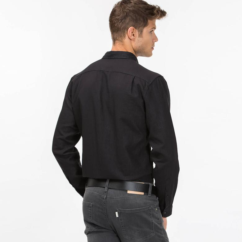 Lacoste Erkek Siyah Regular Fit Uzun Kollu Gömlek
