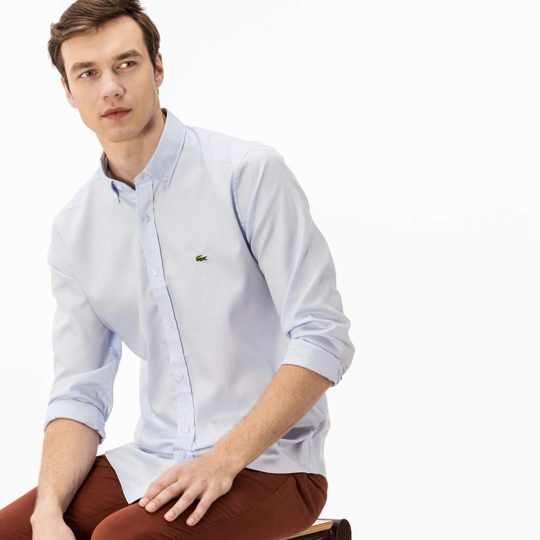 Lacoste Erkek Mavi Uzun Kollu Slim Fit Gömlek