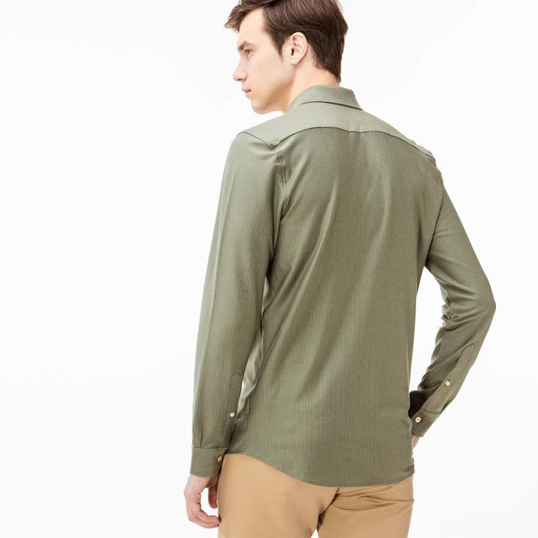 Lacoste Erkek Yeşil Slim Fit Uzun Kollu Gömlek