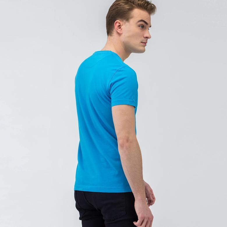 Lacoste Kısa Kollu Erkek Mavi Tshirt