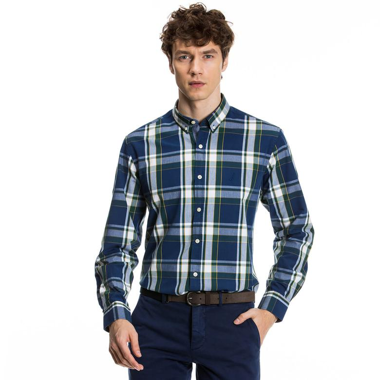 Nautica Erkek Mavi Uzun Kollu Regular Fit Gömlek