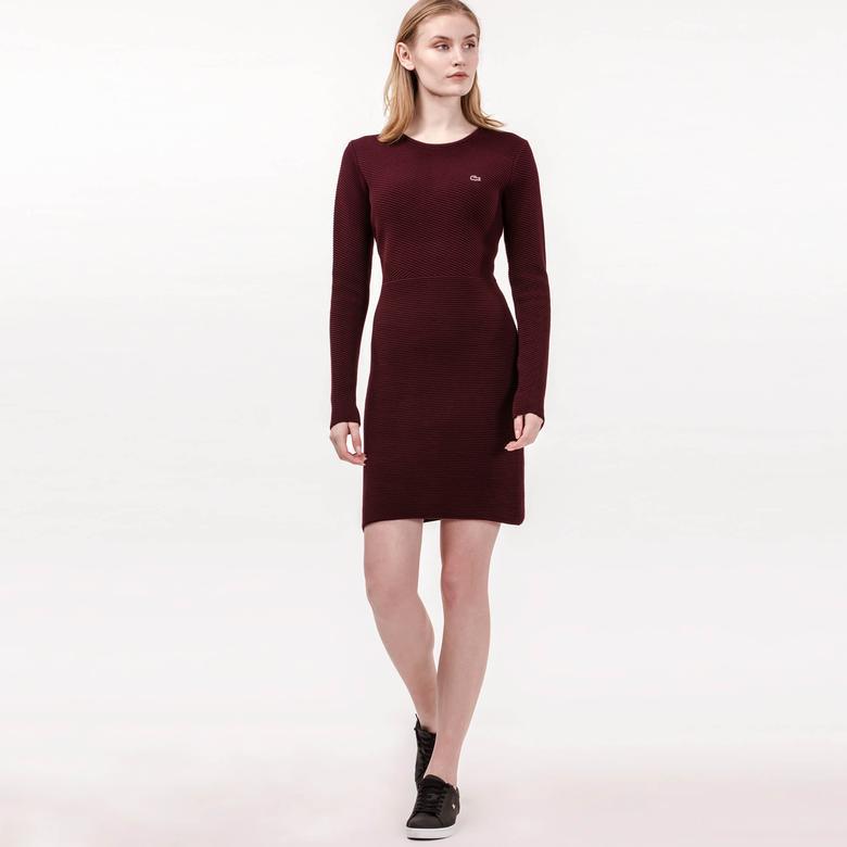 Lacoste Kadın Uzun Kollu Bordo Slim Fit Elbise