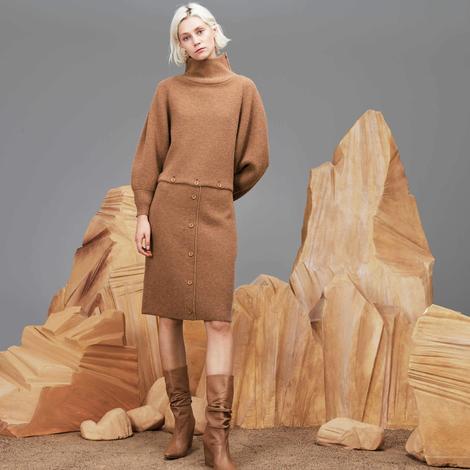 Lacoste Kadın Regular Fit Kahverengi Elbise