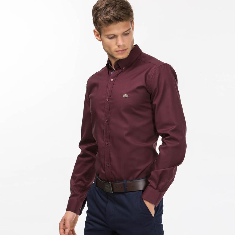Lacoste Erkek Bordo Slim Fit Uzun Kollu Gömlek