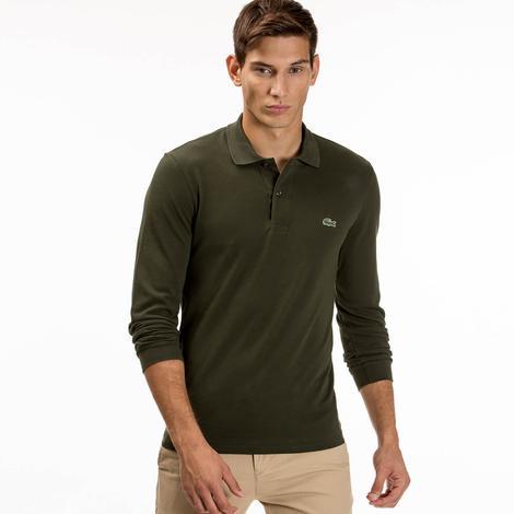 Lacoste Erkek Uzun Kollu Yeşil Klasik Fit Polo