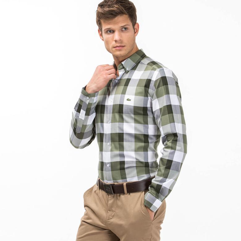 Lacoste Erkek Yeşil Slım Fit Uzun Kollu Gömlek