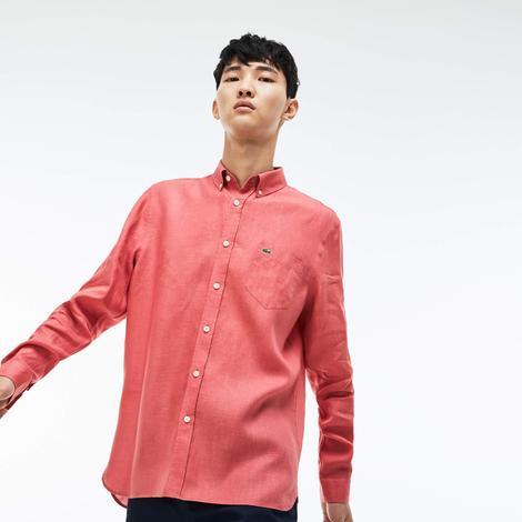 Lacoste Erkek Pembe Regular Fit Uzun Kollu Gömlek