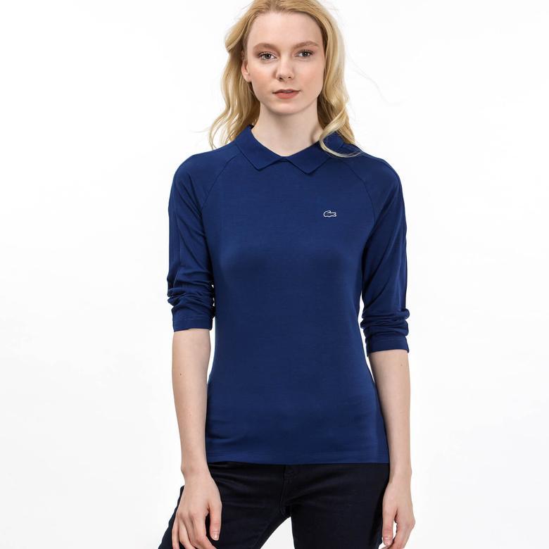 Lacoste Kadın Mavi Uzun Kollu Polo