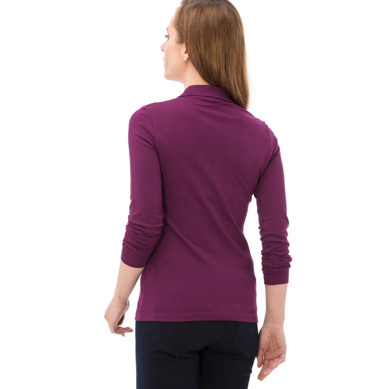 Lacoste Kadın Uzun Kollu Mor Slim Fit Polo
