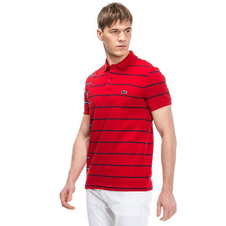 Lacoste Erkek Kırmızı Çizgili Polo
