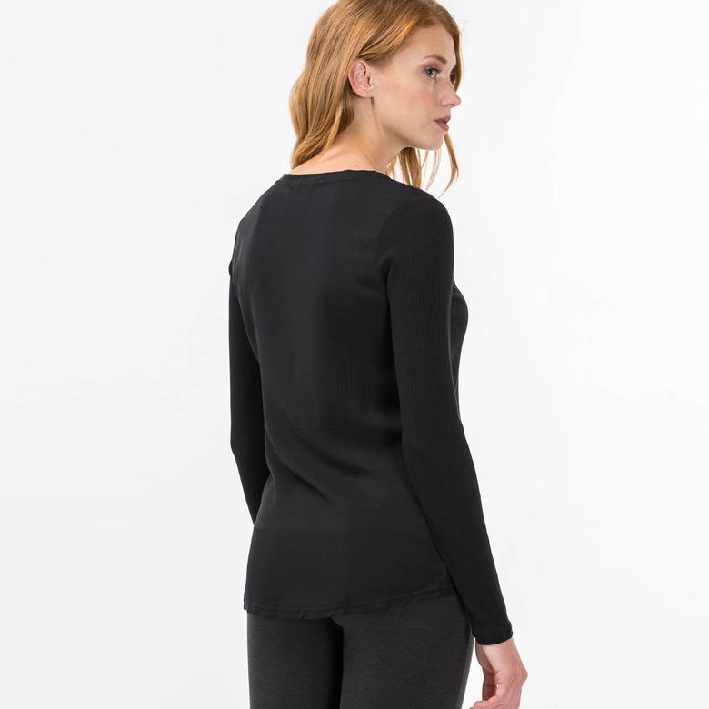 Lacoste Kadın Siyah Uzun Kollu T-Shirt