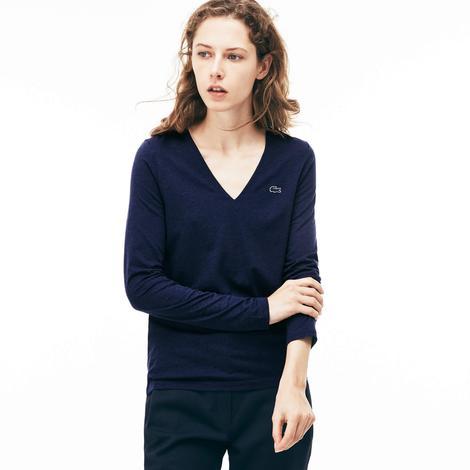Lacoste Kadın Mavi Uzun Kollu T-Shirt