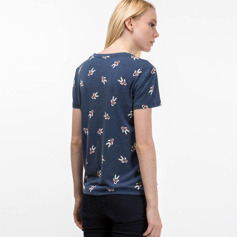 Lacoste Kadın Mavi Kısa Kollu T-Shirt