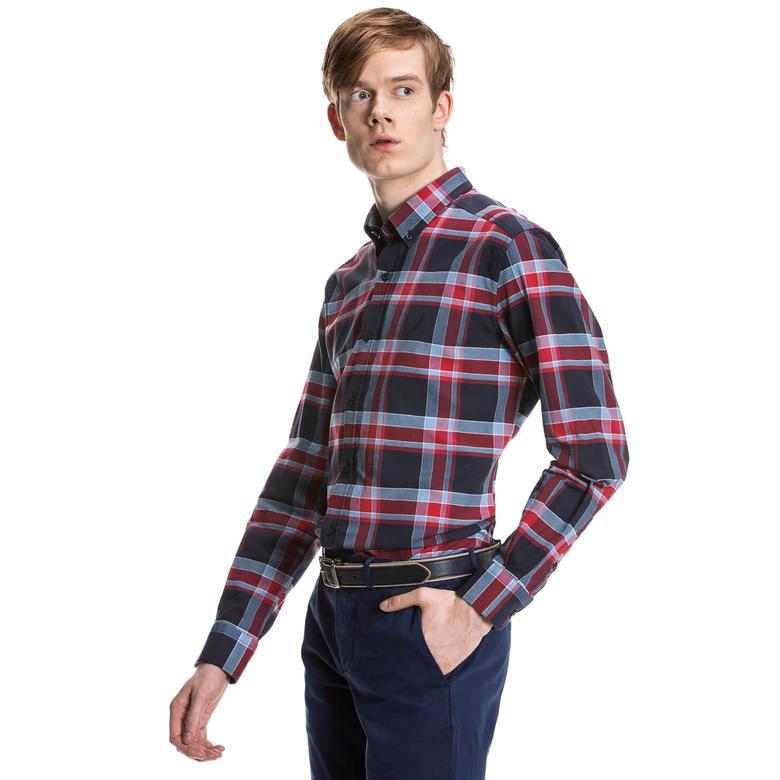 Nautica Erkek Kırmızı Kareli Uzun Kollu Slim Fit Gömlek