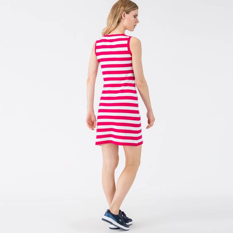 Lacoste Kadın Slim Fit Pembe Kolsuz Elbise
