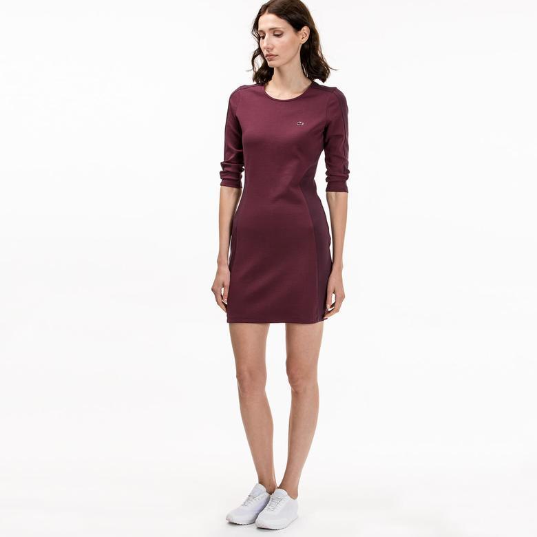 Lacoste Kadın Slim Fit Bordo Elbise