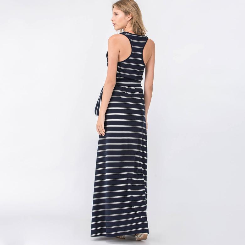 Lacoste Kadın Regular Fit Lacivert Kolsuz Elbise