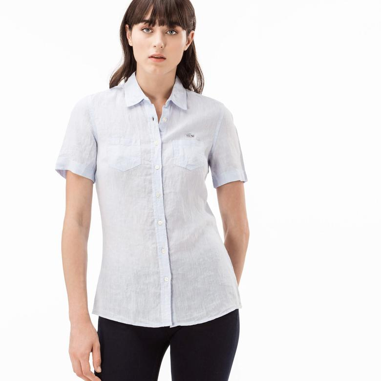 Lacoste Kadın Beyaz Kısa Kollu Regular Fit Gömlek