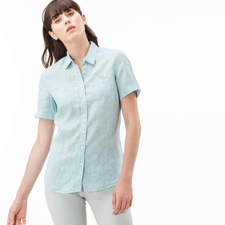 Lacoste Kadın Yeşil Kısa Kollu Regular Fit Gömlek