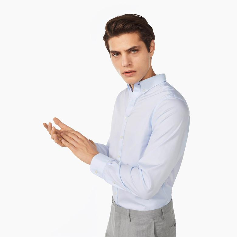 Gant Erkek Mavi Uzun Kollu Regular Fit Oxford Slim Fit Gömlek