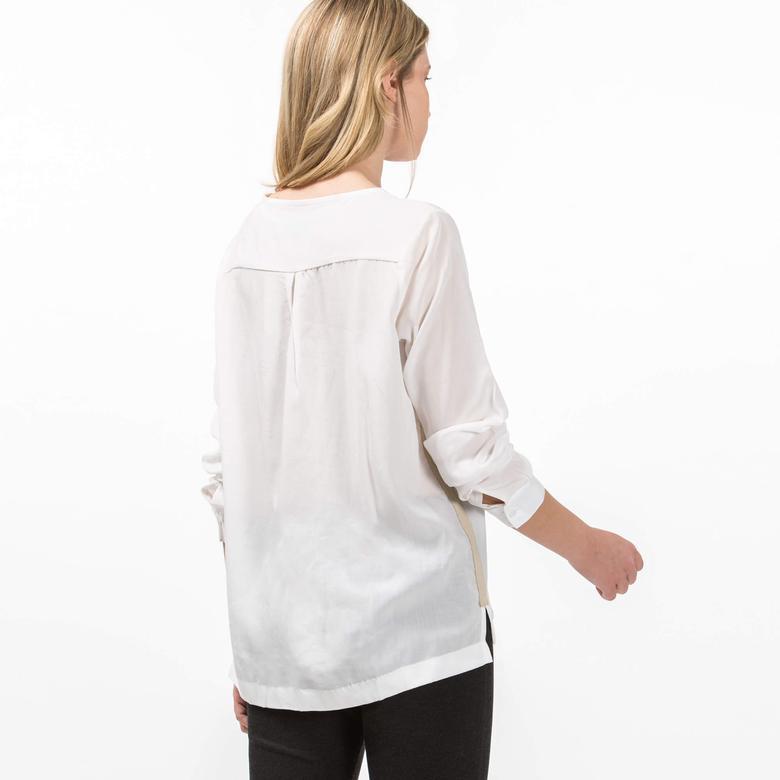 Lacoste Kadın Krem Uzun Kollu Bluz