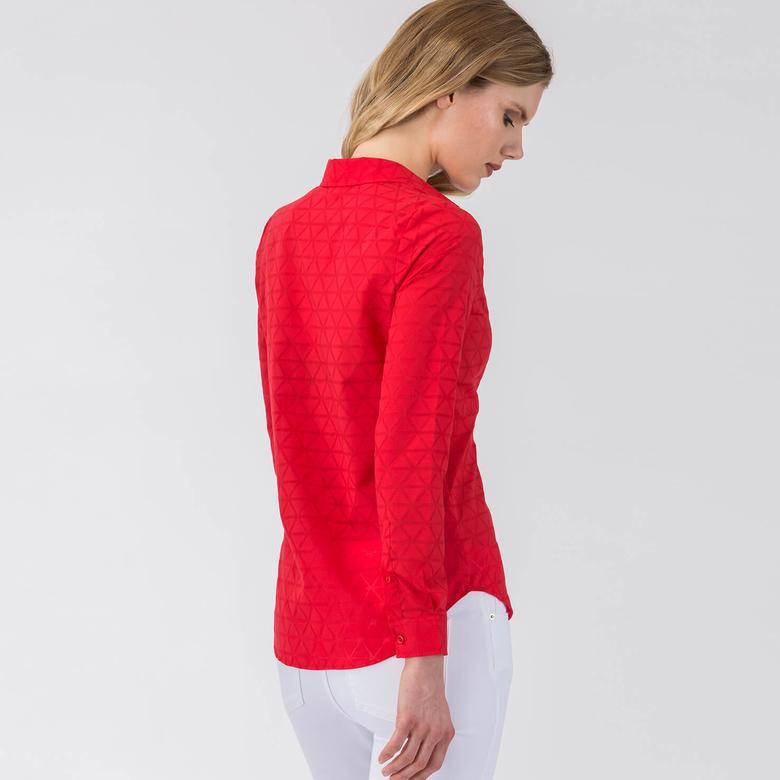 Lacoste Kadın Pembe Regular Fit Uzun Kollu Gömlek