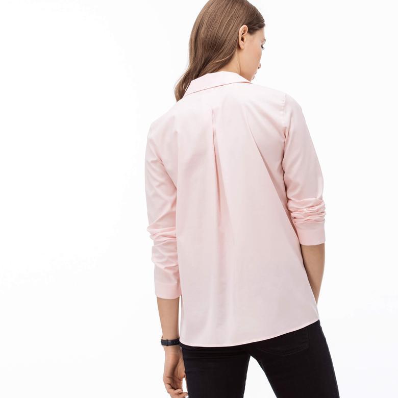 Lacoste Kadın Pembe Uzun Kollu Regular Fit Gömlek