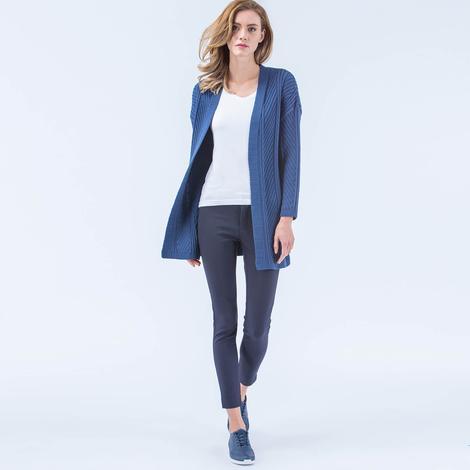Lacoste Kadın Mavi Uzun Hırka