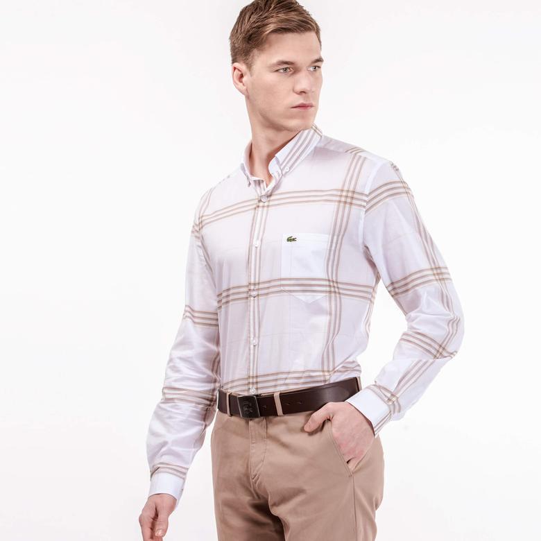 Lacoste Erkek Bej Çizgili Regular Fit Uzun Kollu Beyaz Gömlek