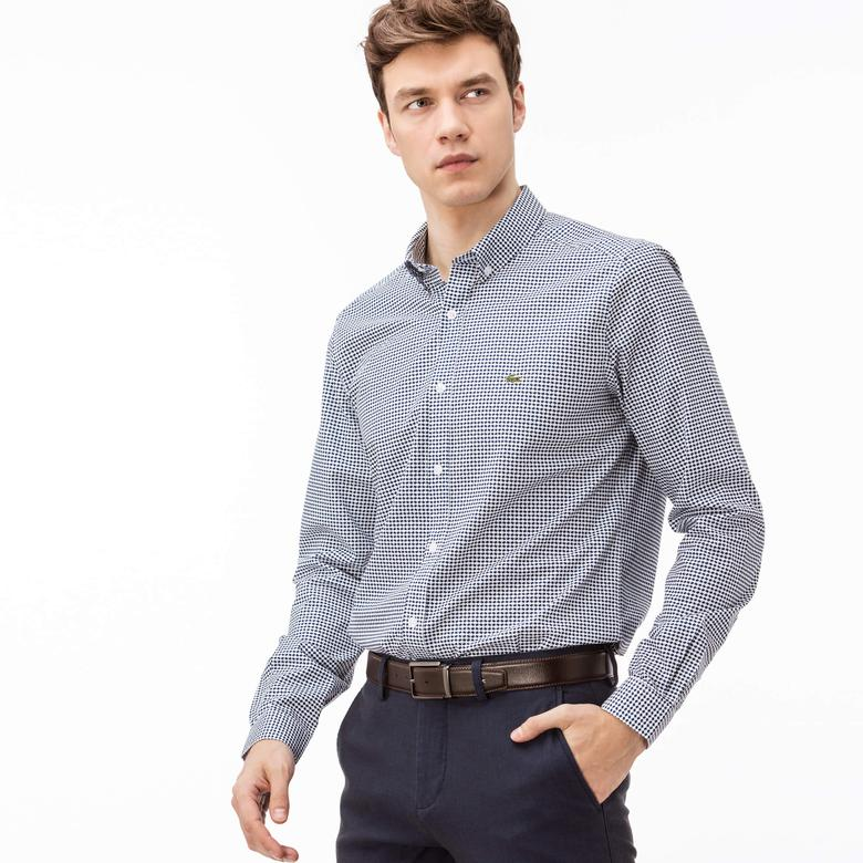 Lacoste Erkek Slim Fit Uzun Kollu Lacivert Desenli Beyaz Gömlek