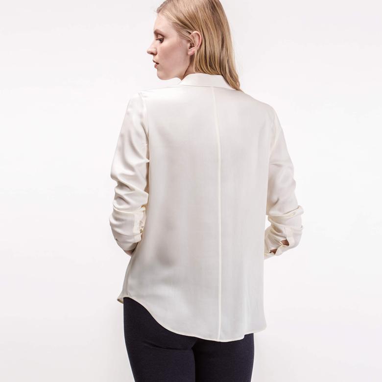 Lacoste Kadın Ekru Uzun Kollu Gömlek