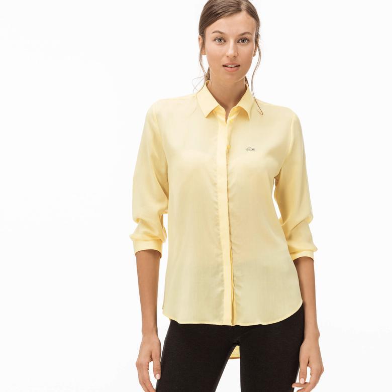 Lacoste Kadın Sarı Uzun Kollu Regular Fit Gömlek