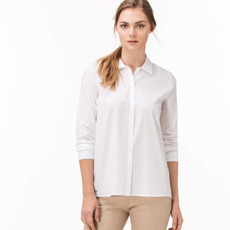 Lacoste Kadın Beyaz Uzun Kollu Regular Fit Gömlek