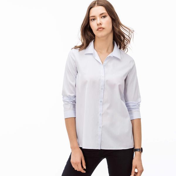 Lacoste Kadın Mavi Uzun Kollu Regular Fit Gömlek
