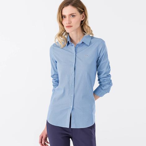 Lacoste Kadın Mavi Regular Fit Uzun Kollu Gömlek