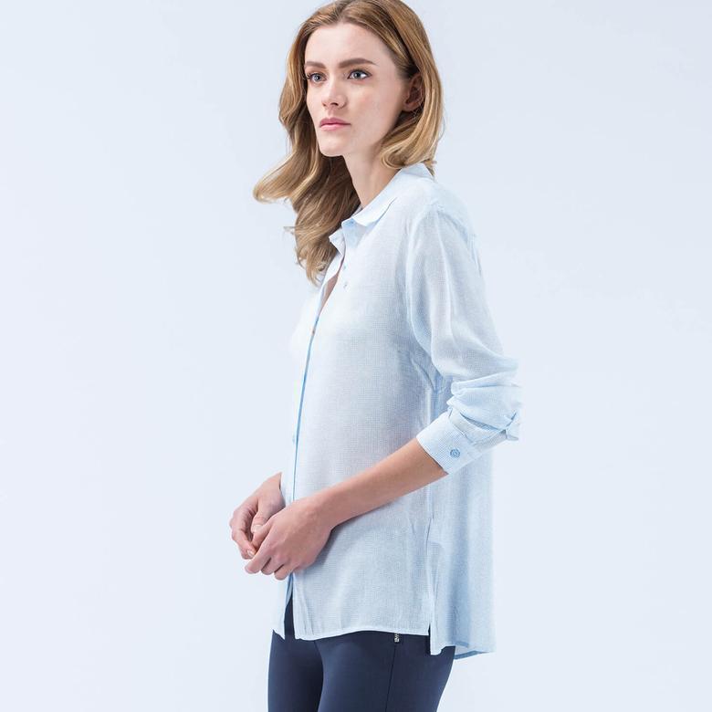 Lacoste Viskon Mavi Kadın Gömlek