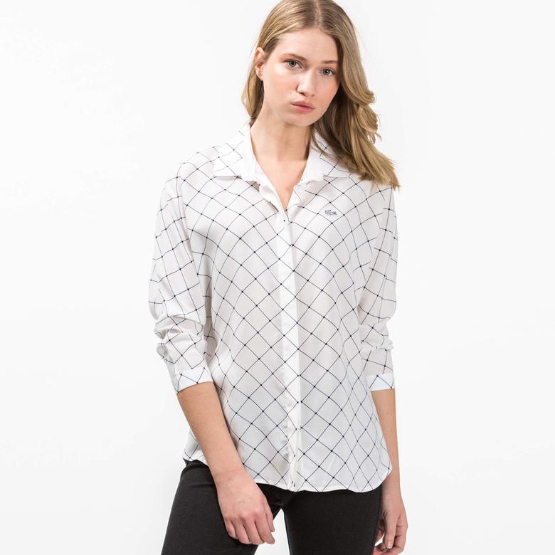 Lacoste Kadın Lacivert Çizgili Uzun Kollu Beyaz Gömlek