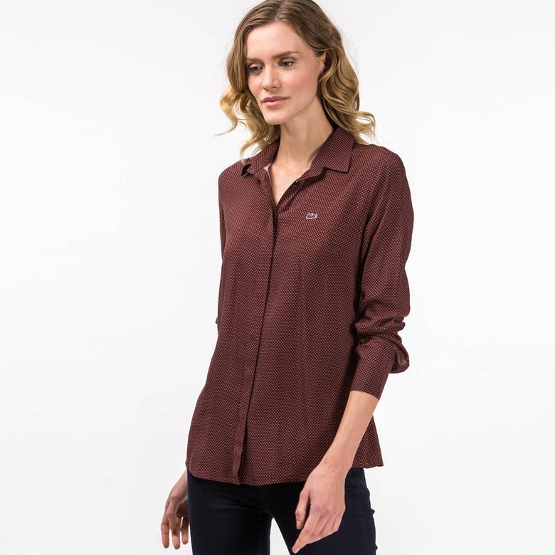 Lacoste Kadın Bordo Uzun Kollu Gömlek