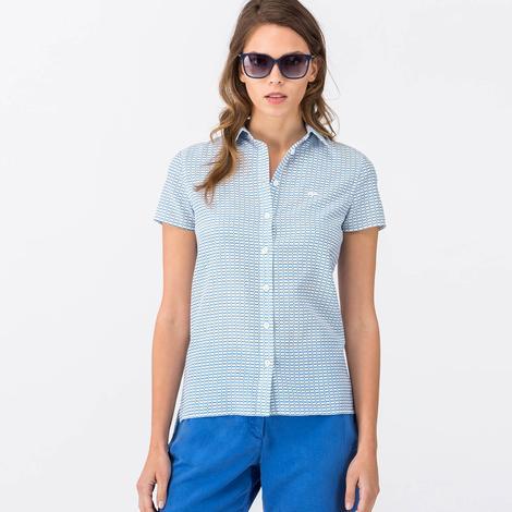 Lacoste Kadın Mavi Kısa Kollu Gömlek