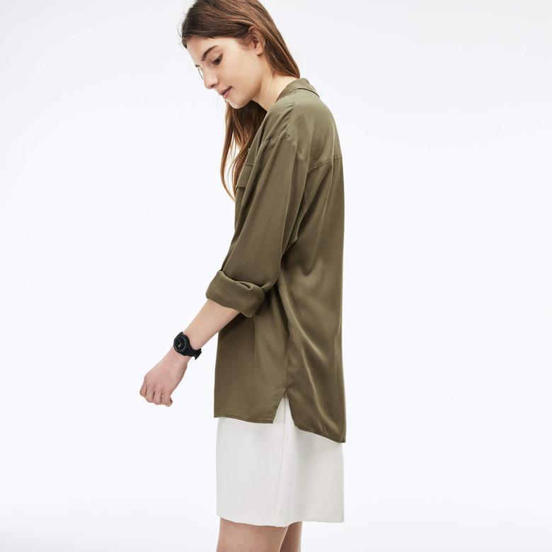Lacoste Kadın Yeşil Uzun Kollu Gömlek