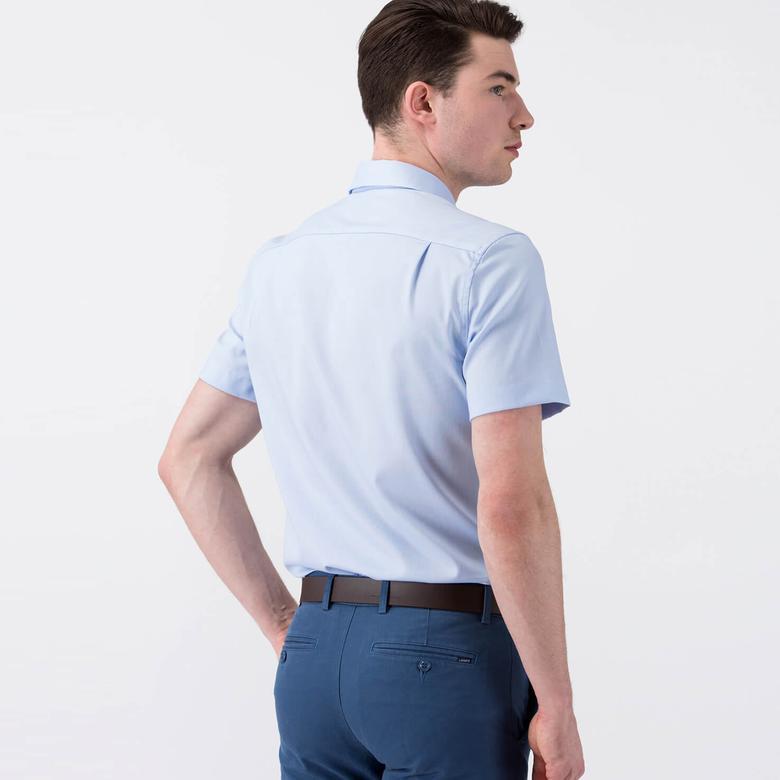 Lacoste Erkek Mavi Slim Fit Kısa Kollu Gömlek