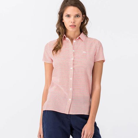 Lacoste Kadın Kırmızı Kısa Kollu Gömlek